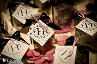 Monogram tags on guest favors