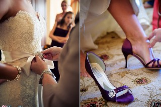 Bride puts on dress and shoes