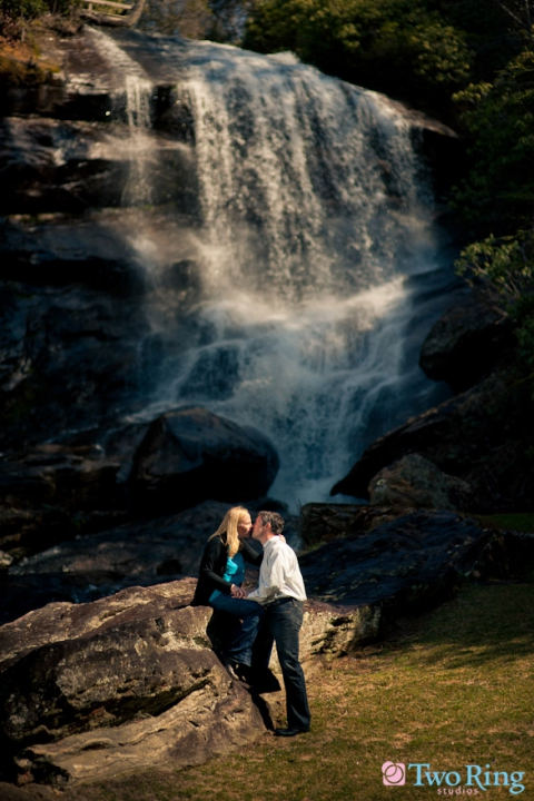 Waterfall engagement photo