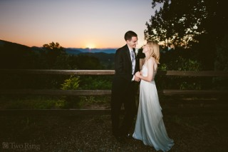 Portrait of bride and groom at Crest Center wedding